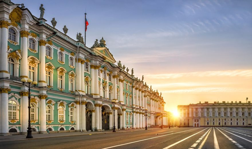 Luxurious Palace in St. Petersburg, and the morning sun